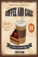 vintage homemade made with love coffee and cake metal tin sign 8x12 inch retro home kitchen cafe shop wall decor poster new