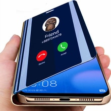 Espejo funda para Samsung Galaxy A10 A20 A30 A40 A50 A60 A70 A80 A90 M30 M20 M10 S9 S8 A6 J4 J6 más A9 A7 2018 Nota 9 8 Capa