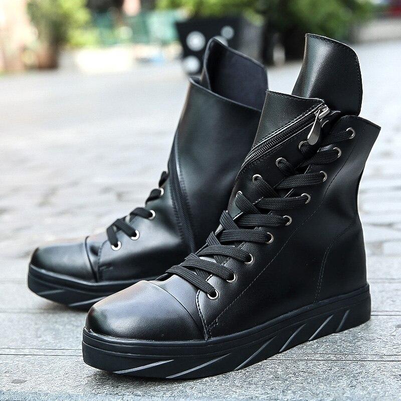 Hip Hop moda Otoño Invierno hombres street Boots vestido con cordón Zapatos baile calzado plataforma alta zapatillas Botas militares
