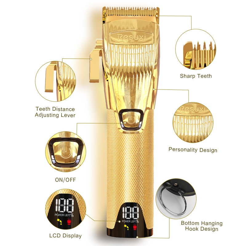 Hair Trimmer LCD Display Gold Electric Hair Clipper Professional Trimmer For Men Barber Clipper Wahl Magic Clip Cordless enlarge