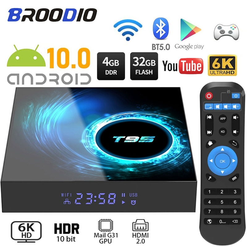 2020 T95 مربع التلفزيون الذكية أندرويد 10.0 4G 64GB 128GB 6K يوتيوب مشغل الوسائط 2.4g واي فاي TVBOX أندرويد فك التشفير 2GB 16GB مجموعة صندوق