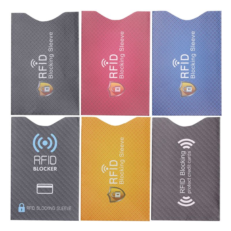 Rfid titular do cartão 10 pces anti roubo para rfid cartão de crédito protetor bloqueando luva capa da pele