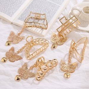 Hot selling fashion jewelry with chain butterfly catch clip love heart pendant hairpin head trim clip for female gifts