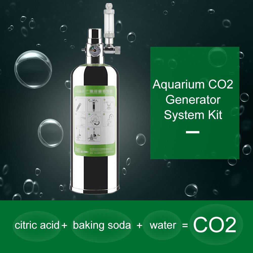 7CM CO2 atomizador 2L doble acuario CO2 generador Sistema de dióxido de carbono para acuario planta difusor CO2 acuario válvula de retención