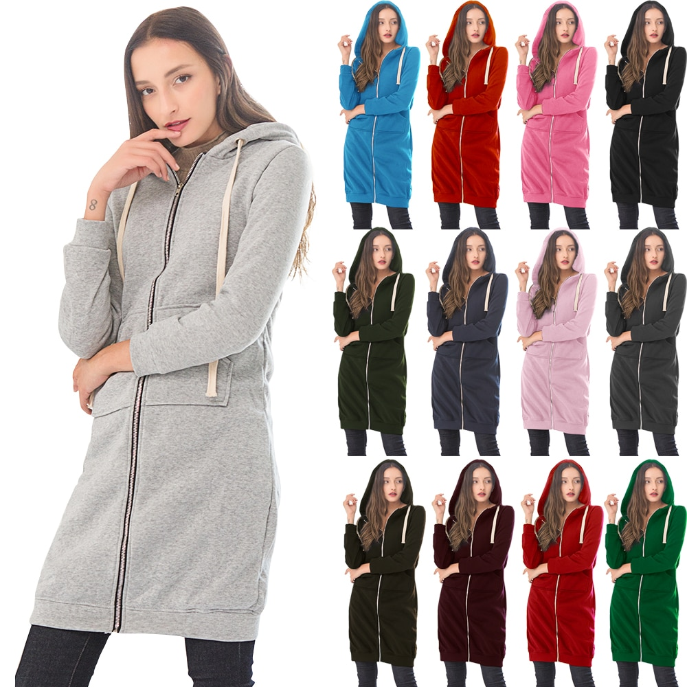 Wipalo Otoño Invierno mujer Casual cremallera larga con capucha chaqueta sudadera Vintage de talla grande 5XL Abrigo con capucha Rosa 5XL