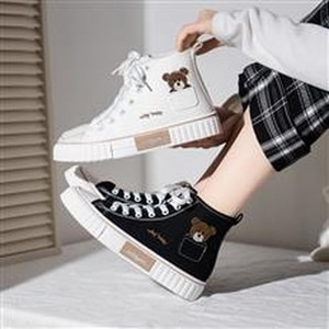 New high-top canvas shoes casual students all-match white shoes women's shoes canvas shoes for women