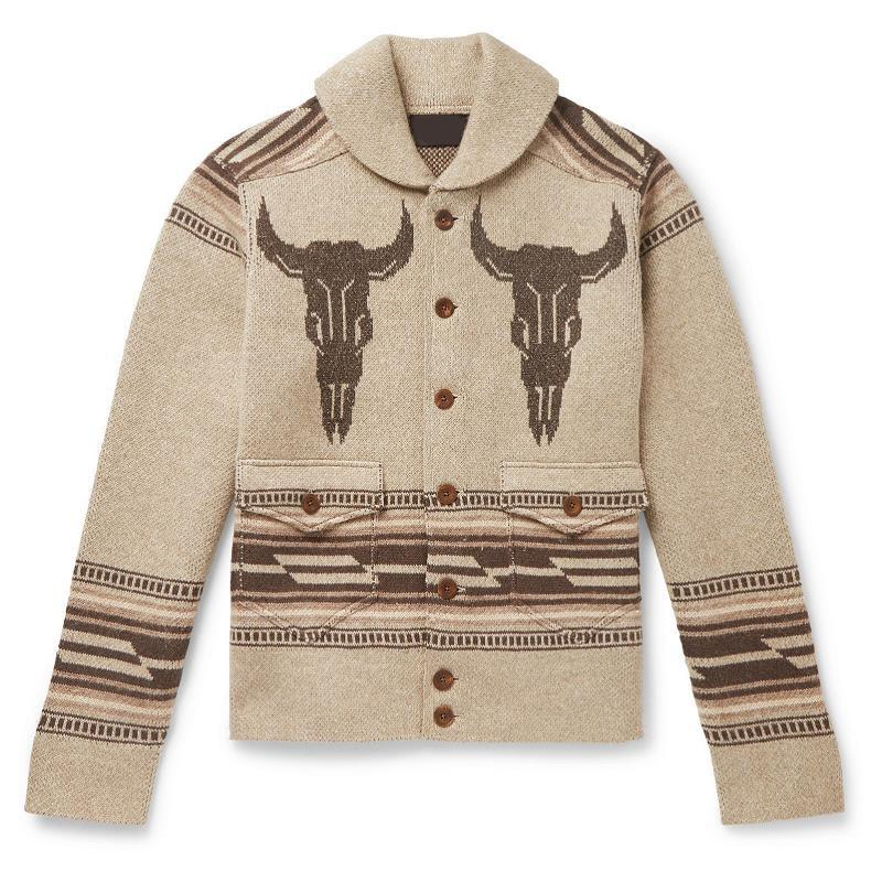 European and American autumn and winter men's jacquard long-sleeved jacket lapel youth knit cardigan sweater