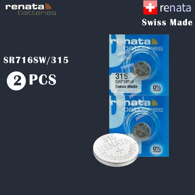 2Pcs/Lot Renata 315 100% Original Brand New LONG LASTING SR716SW SR716 1.55V Swiss Made Silver Oxide Watch Battery Renata 315