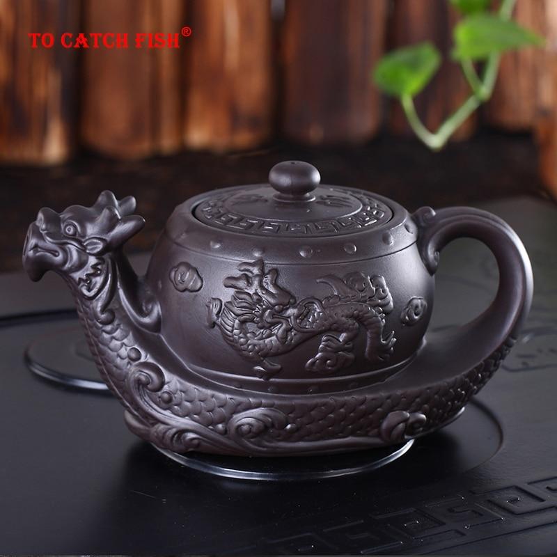 Hot Sales Chinese Yixing purple clay Teapot,Raditional dragon tea pot Big capacity Handmade clay tea set kettle kung fu teapot