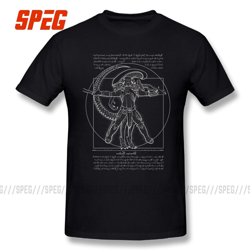 Vitruvian Hunters Negative Alien Covenant T Shirt Alien vs Predator Mans Short Sleeves Tops Printed T-Shirt Summer Cotton Tees