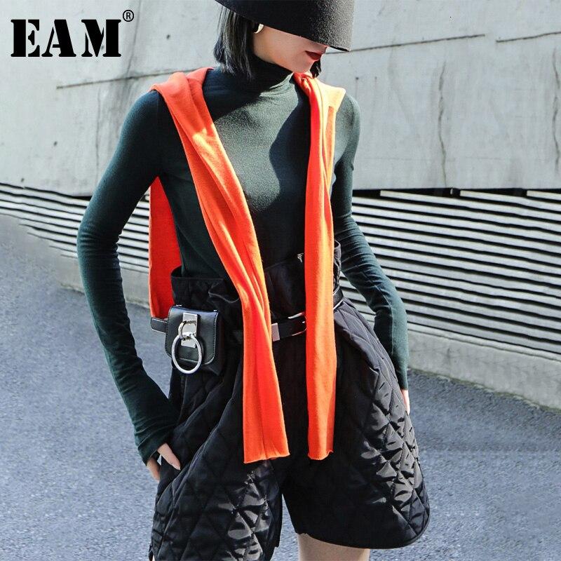 [EAM] Frauen 4 Farben Orange Kurze Temperament T-shirt Neue Hohe Kragen Langarm Mode Flut Frühling Herbst 2020 19A-a325