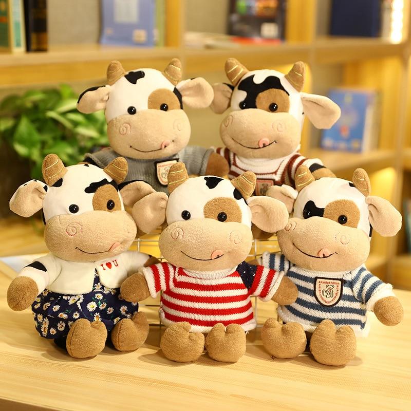 Коровы плюшевые милые животные Мультяшные Мягкие плюшевые игрушки кавайный рогатый скот удобные мягкие игрушки подарок для детей на день р...