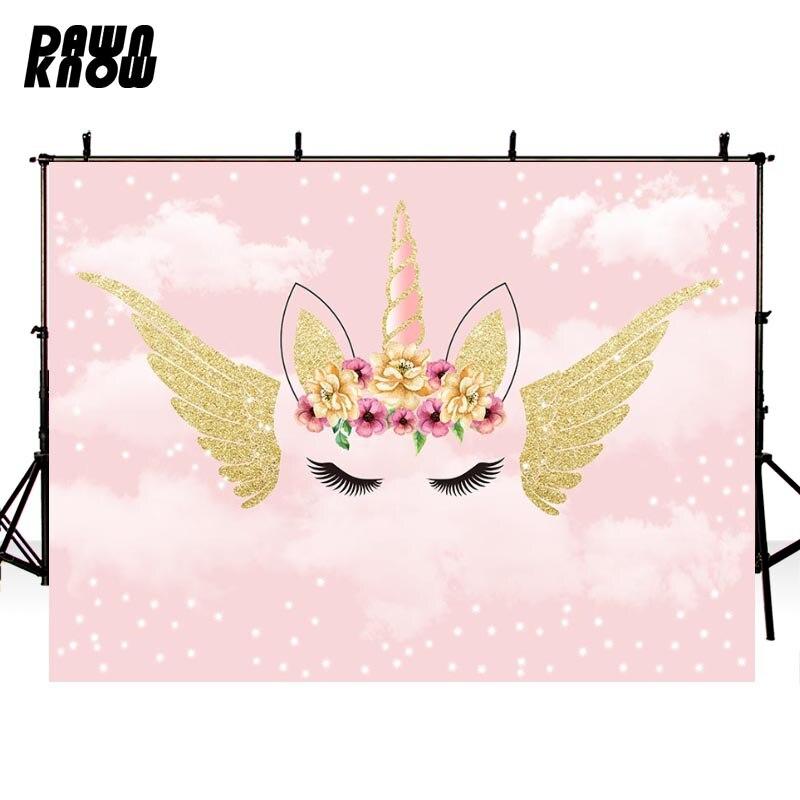 Fondo de fotografía de unicornio Rosa DAWNKNOW para recién nacido nube sesión de fotos fondos para niños estudio fotográfico Photocall G1094
