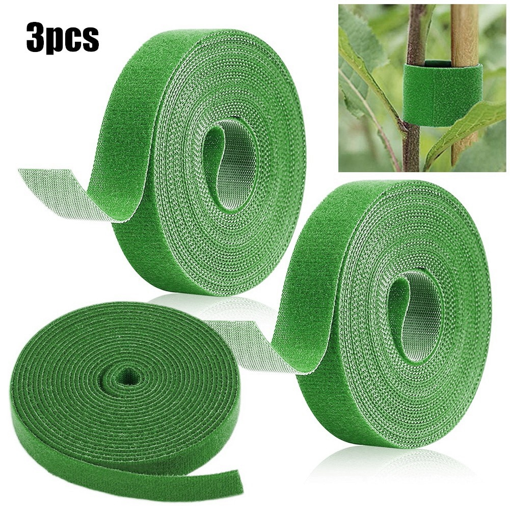 3PCS Tie Tape Plant Hook Loop Garden Supports Bamboo Cane Wrap Plant Ties Support Care Cages Bamboo Rattan Supports
