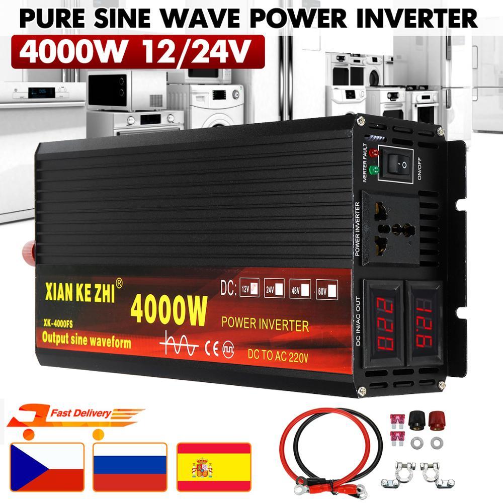 Car Inverter 12V/24V 220V 3000/4000W Voltage transformer Pure Sine Wave Power Inverter DC12V to AC 220V Converter+2 LED Display