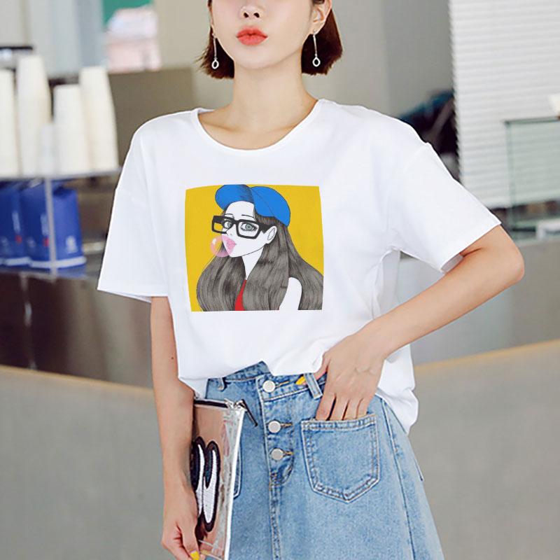 Casual verano Streetwear impreso camiseta Grunge Vogue ropa moda Linda cómic chica Angel camiseta Harajuku Kawaii