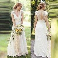 graceful garden on sale lace short sleeve bridal wedding dresses keyhole back deep v neckline wedding gowns for bride pleating