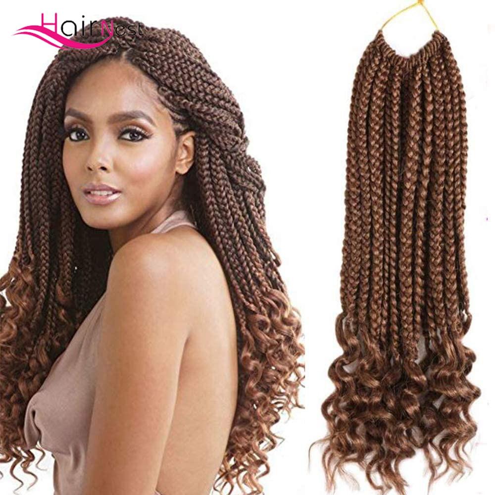 Гнездо для волос, 18 дюймов, синтетические кудрявые косички для плетения крючком, удлинители волос с эффектом омбре, синтетические косички б...
