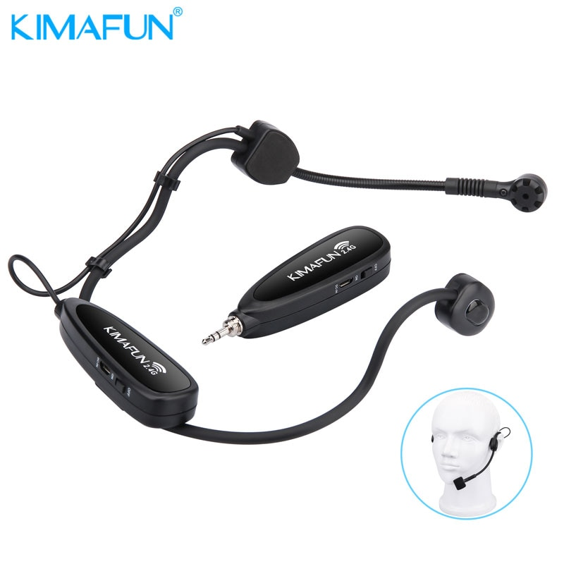 KIMAFUN Wireless Headset Microphone System for iPhone,DSLR Camera,PA Speaker,Youtube,Podcast,Video Recording,Conference,Vlogging