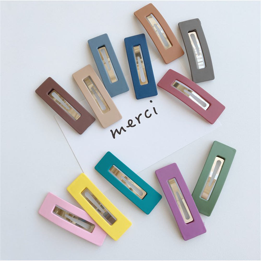 1pcs Fashion Matte Square Hair Clip Girls Candy Color BB Hairpins Metal Barrettes Bangs Hair Clip Women Hair Accessories