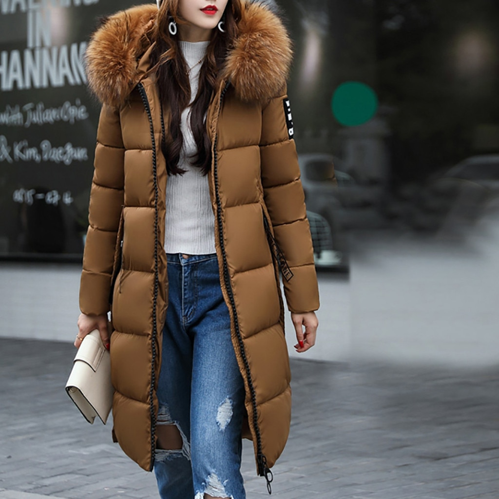 Brand cotton-padded jacket women's mid-length over the knee new Korean style slim-fit plus size women's padded jacket