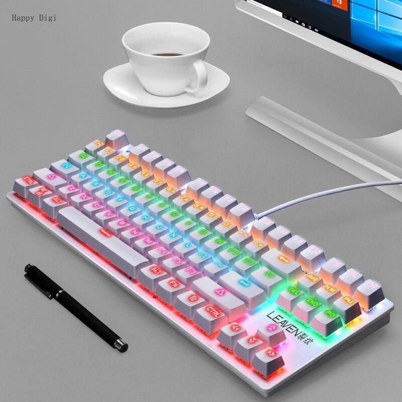 USB السلكية 87 مفاتيح Gamer مفاتيح لوحة المفاتيح الميكانيكية الوردي الألعاب لطيف للكمبيوتر سطح المكتب الكمبيوتر المحمول ملحقات للكمبيوتر المحمو...