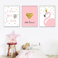 cartoon flamingo diamond posters nursery art canvas print painting nordic decoration wall pictures for girls bedroom home decor