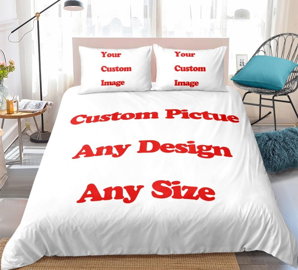 طقم سرير فاخر مخصص ثلاثية الأبعاد لحاف مطبوع طقم أغطية صورة مخصصة التوأم كامل الملكة الملك الحجم ل دروبشيبينغ