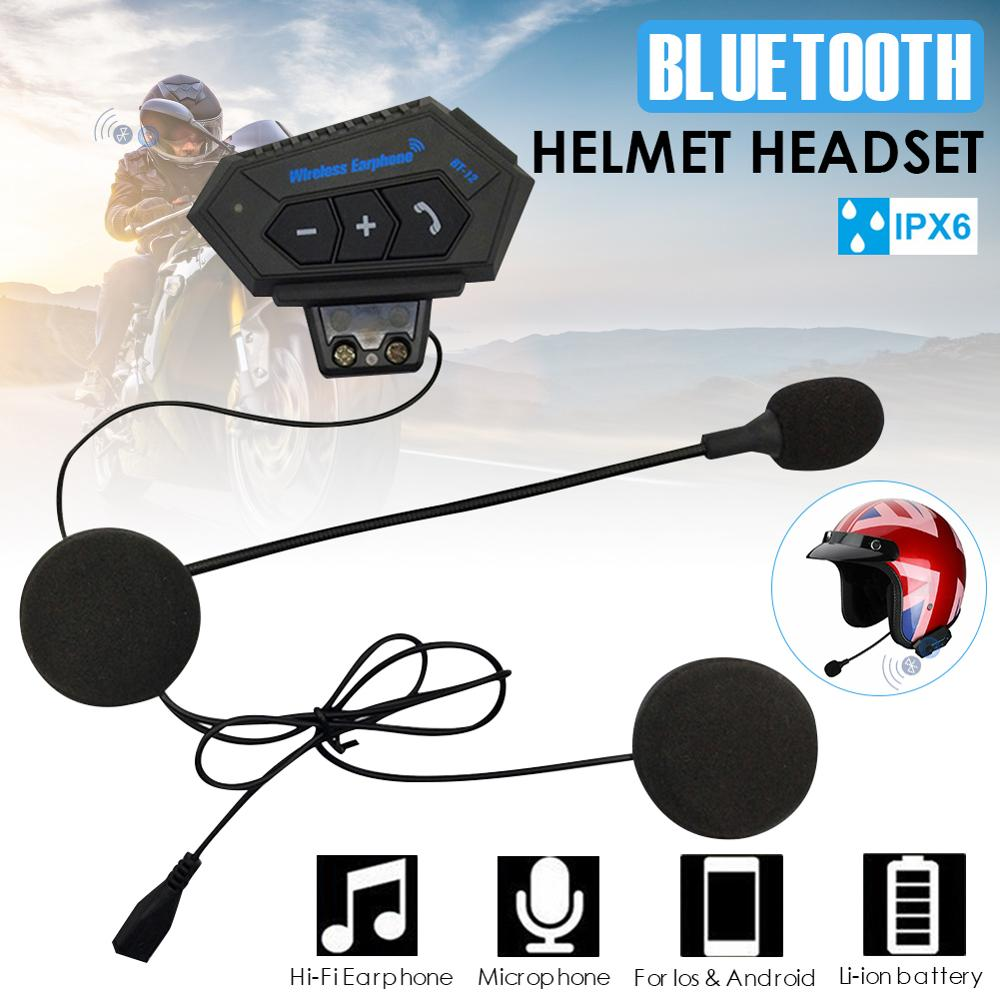 Motorcycle Helmet Bluetooth Headset 15-20Hrs Music Time Sports Riding Earphone Auto Answering with Mic