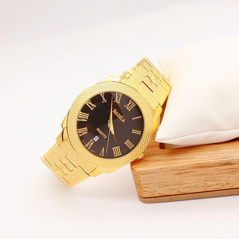 Men's Watch Sand Gold Fashion Big Plate Waterproof with Calendar Roman Dial Japanese Movement Quartz Watch enlarge
