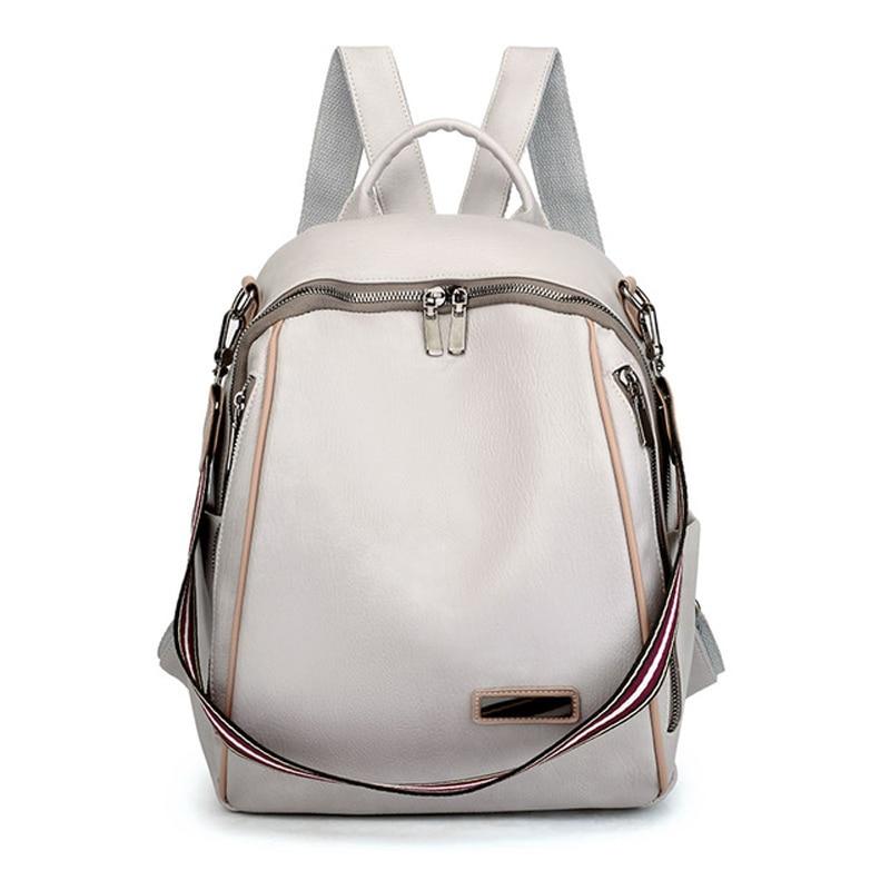 Women's backpack soft leather girl school bag luxury brand travel backpack large capacity shoulder bag 2021 summer new beige