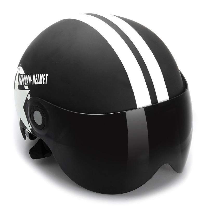 Casco de motocicleta medio 3/4 con máscara abierta parasol retráctil