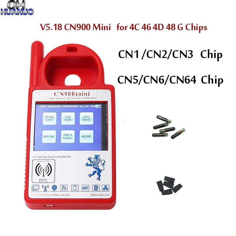5PCS * NEW V5.18 CN900 Mini Transponder Programador Chave Mini CN900 para 4C 46 4D 48 G Chip de Fichas com CN1 CN2 CN3 CN5 CN6