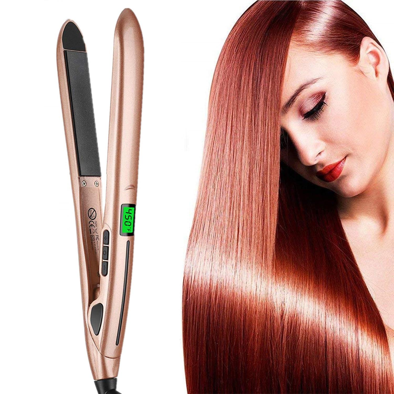 lcd alisador de cabelo curler dupla face placa aquecimento rapido estilo alisamento