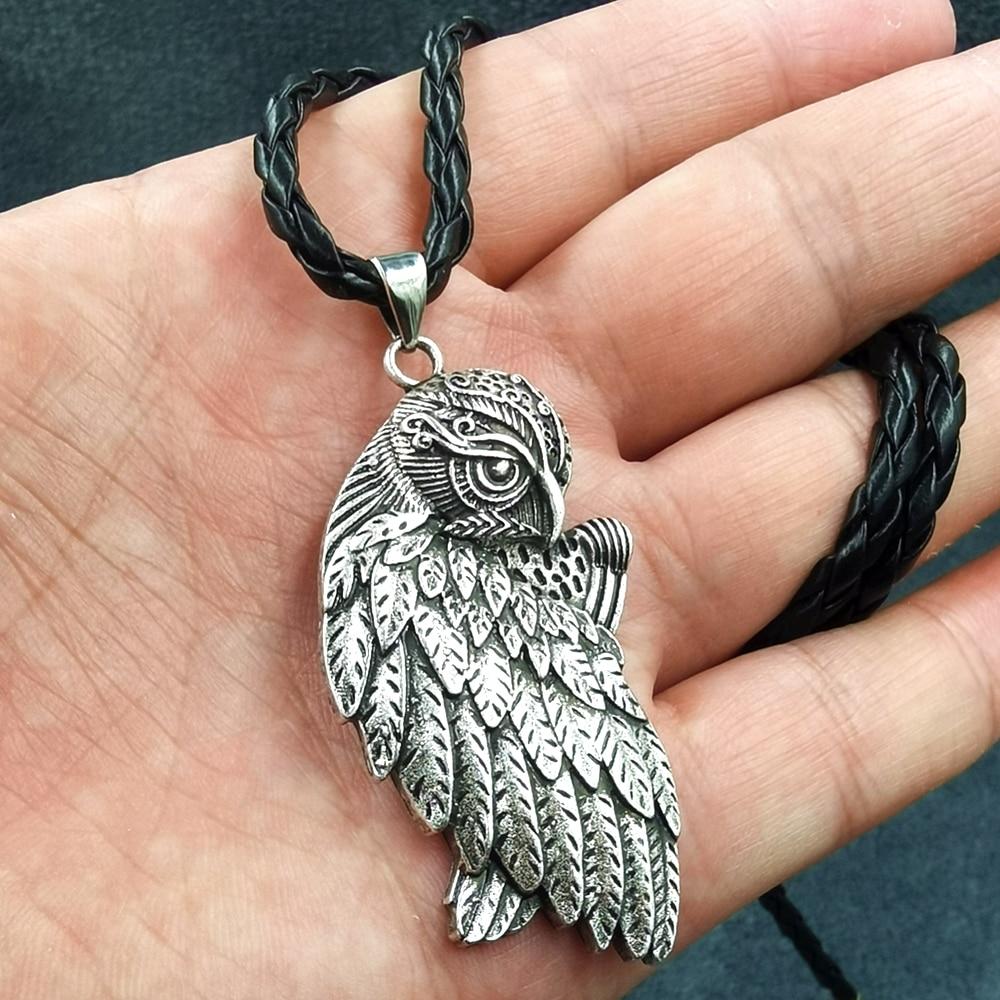 10pcs Wiccan Jewelry Owl&Raven Triple Moon Goddess Pendant Necklace for Men Animal Birds Pagan Flyin