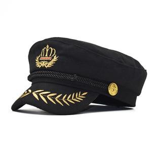 new crown Vintage warm hat Men Women Autumn Winter Flat Military berets Captain Adjustable Sailor Caps Navy cap Hats