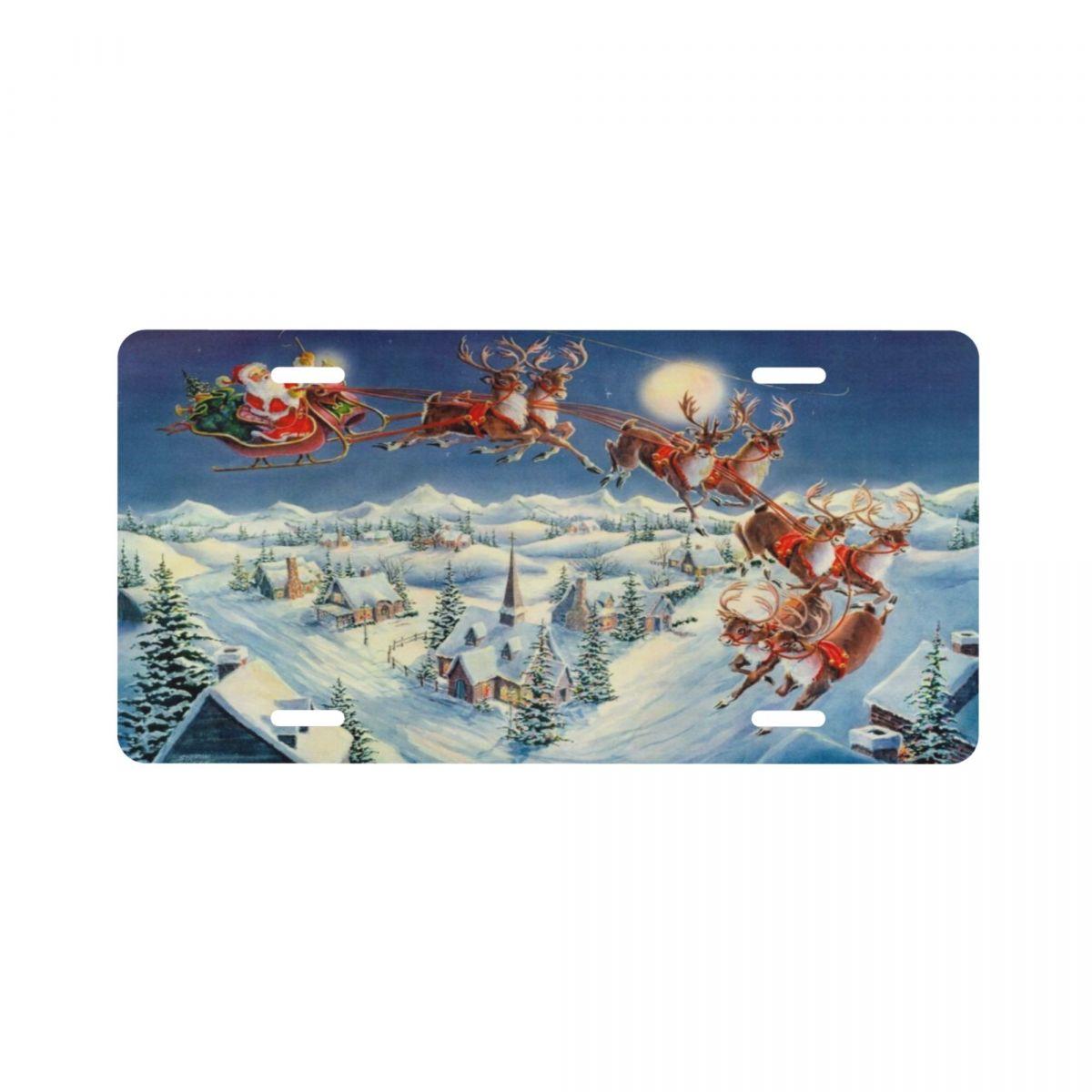 Металлический автомобильный номерной знак Санта Клаус 6 дюймов x 12 дюймов