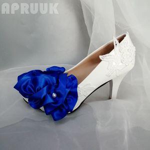 Royal blue flower decoration wedding pumps shoes bride bridal party bridesmaid ladies club platforms white lace pumps shoes
