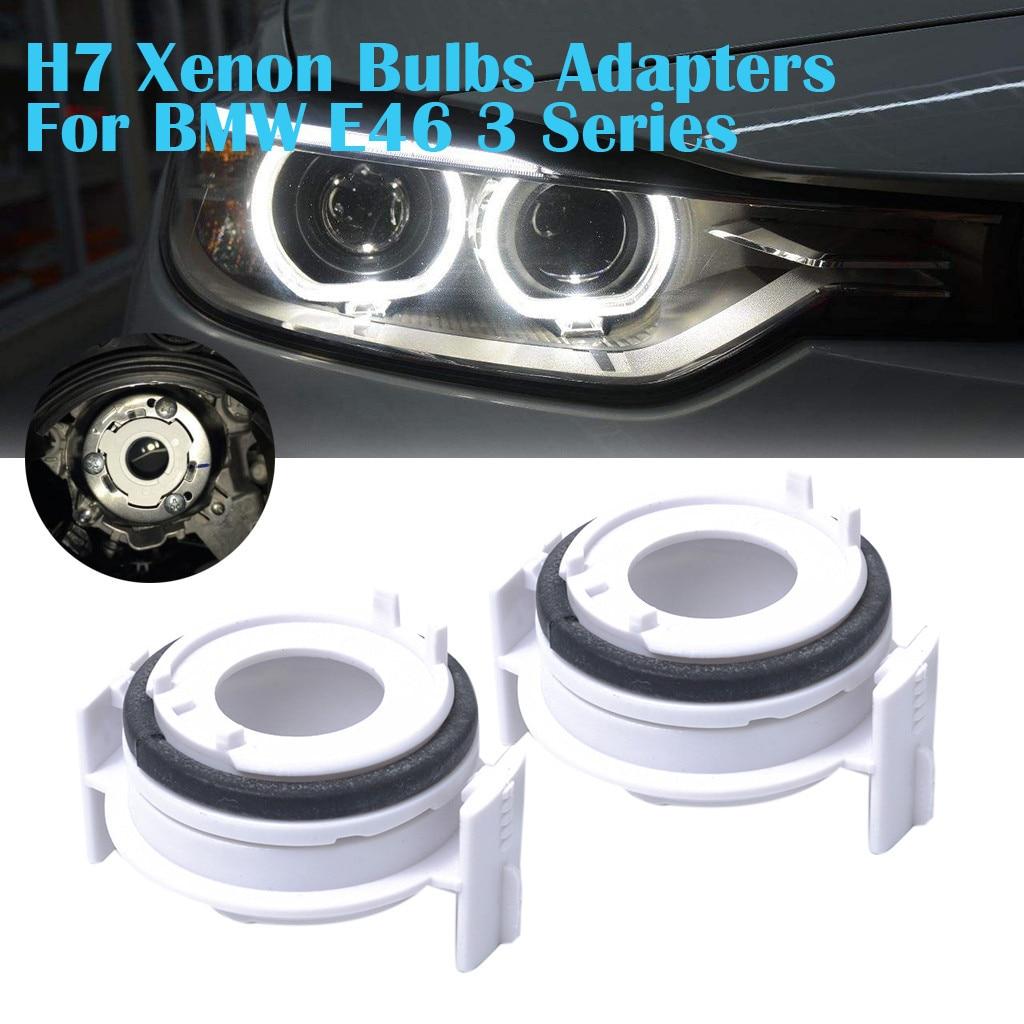 2 uds. Adaptadores de bombillas de xenón H7 para BMW E46 3 Series 325i 325ci 330i 330ci, para faros HID de haz bajo, faros de xenón # PY10