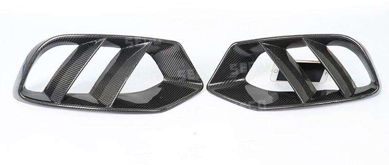 Ajuste para mercedes-benz W205 C180 C200 Marco de lámpara antiniebla delantera de fibra de carbono barra delantera antiniebla pantalla cubierta tuyere