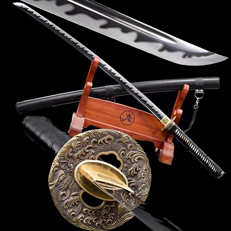 Cuchillo de batalla al aire libre negro 1095 de acero al carbono afilada espada Dao Katana cuero Scabbard Samurai japonés forjado a mano