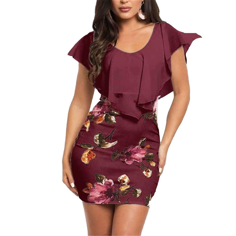 Fashion Summer Women Plus Size Clothes False Tow Pieces Ruffled Retro Flower Print Bodycon Slim Evening Party Office Mini Dress