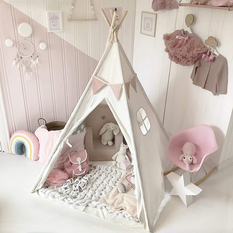 Tipi triangular de 130cm para niños, tienda de juegos, Teepee de lona para dormir, casa, carpas para niños, casa de juegos