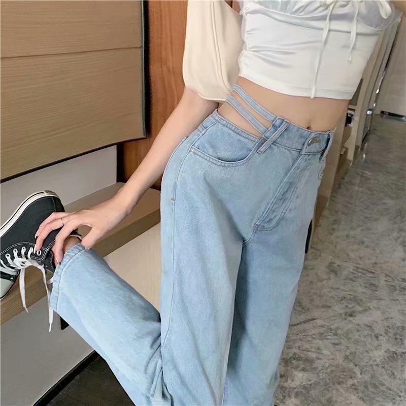 Женские джинсы с вырезами, новинка 2021, полноразмерные прямые брюки-трубы с завышенной талией и широкими штанинами, стройнящие пух