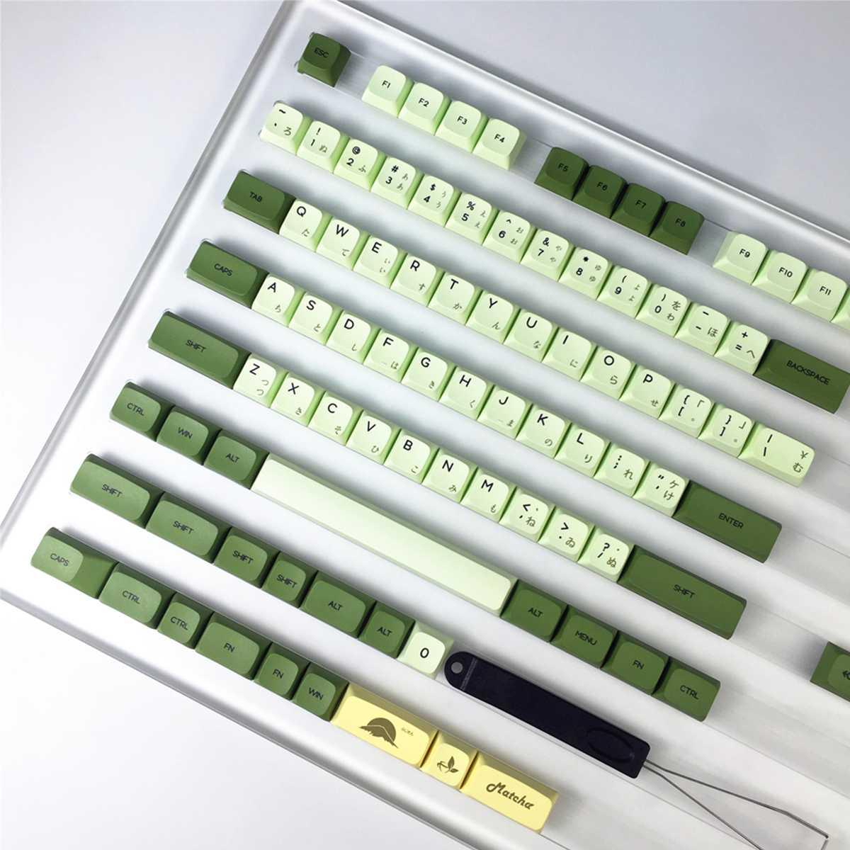 XDA شاي ماتشا أخضر الشاي صبغ الفرعية Keycap مجموعة 124 مفاتيح الشخصي PBT التسامي اليابانية/الكورية/الروسية المفاتيح للوحة المفاتيح الميكانيكية