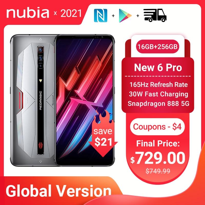 Перейти на Алиэкспресс и купить Новая глобальная версия Nubia красный Магия 6 Pro игровой смартфон 6,8 ''amoled Snapdragon 888 Octa Core 30 Вт Быстрая зарядка рамка RedMagic 6 Pro