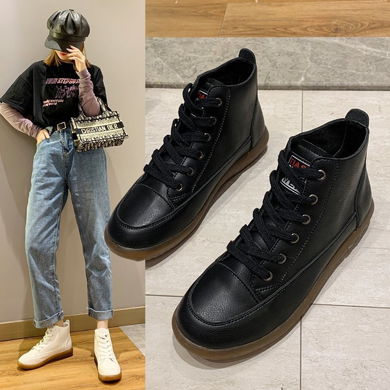 Women's shoes autumn and winter high-top student super fire leather shoes soft sole flat heel single shoes women's wild trend