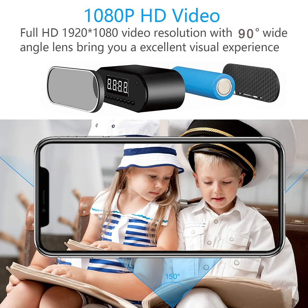 1080P WIFI Mini Camera Time Alarm Clock Wireless Motion Sensor IP Security Night Vision Micro Home Remote Monitor Hidden TF Card enlarge
