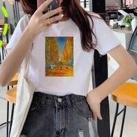 van gogh art tshirt women top oil printed summer short sleeve casual streetwear white tshirt female harajuku ullzang 90s t shirt
