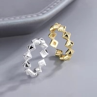 womens ring fashion simple geometry rhombus goldsilver plated rings wedding band engagement ring female jewelry accessories